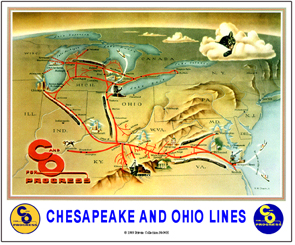 Chesapeake & Ohio on mp map, erie map, gmo map, southern map, pc map, b&o map, dl&w map, conrail map, milw map, new york central map, penn central map, sou map, canadian national map, northern pacific map, central vermont map, new haven map, nickel plate map, prr map, csx map,