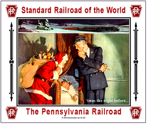 Tin Sign PRR Santa w/Conductor