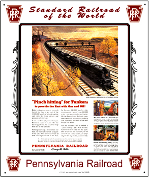 Tin Sign PRR Tanker Train